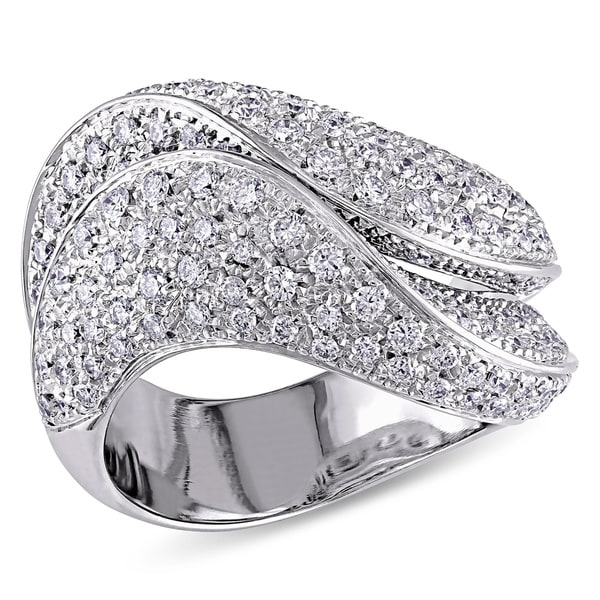 Miadora Signature Collection 18k White Gold 1 3/4ct TDW Pave Diamond Ring (G-H, I1-I2)