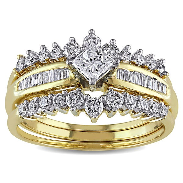 Miadora Signature Collection 14k Gold 1ct TDW Diamond Bridal Ring Set (G-H, I1-I2)