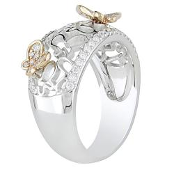 18k Two-tone Gold 2/5ct TDW Diamond Butterfly Ring (G-H, SI1-SI2)