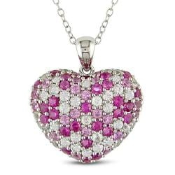 Sterling Silver Pink and White Sapphire Heart Necklace