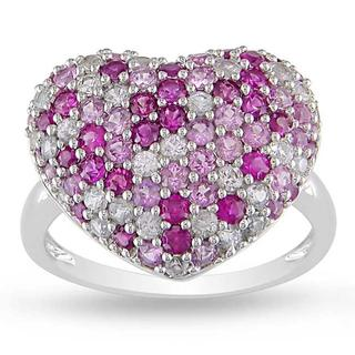 Miadora Sterling Silver Pink and White Sapphire Heart Ring