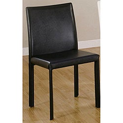 Euro Design Black Faux Leather Dining Chairs (Set of 4)