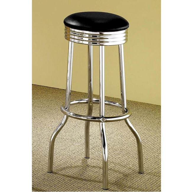 Black Retro Chrome Bar Stools Set Of 2