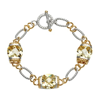 La Preciosa Gold over Silver Yellow Cubic Zirconia Bracelet