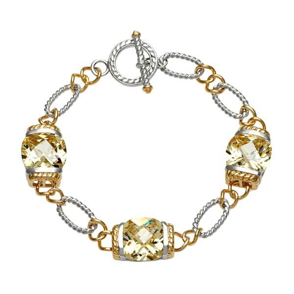 La Preciosa Gold over Silver Yellow Cubic Zirconia Bracelet