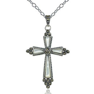 Glitzy Rocks Sterling Silver Mother of Pearl and Marcasite Cross Necklace