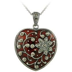 Glitzy Rocks Sterling Silver Red Enamel and Marcasite Heart Necklace