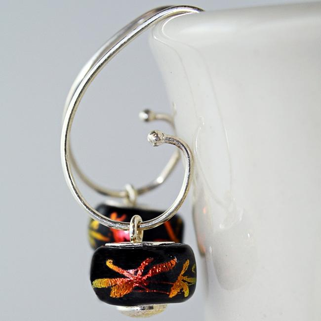 Sterling Silver Orange Dragonfly Glass Bead Earrings (Mexico)