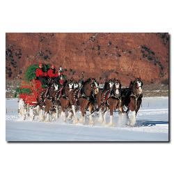 'Clydesdales in Snow with Carriage & Christmas Tree' Canvas Art
