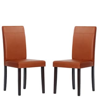 Warehouse of Tiffany Toffee Upholstered Rubber Wood Dining Room Chairs (Set of 8)