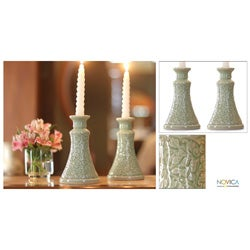 Set of 2 Celadon Ceramic 'Ivy Columns' Candleholders (Thailand)