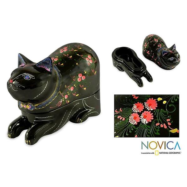 Box Lacquered Wood 'The King's Kitty Cat' Jewelry Box (Thailand)