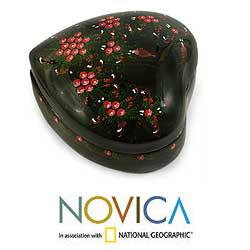 Handcrafted Lacquered Wood 'Secret Heart' Jewelry Box (Thailand)
