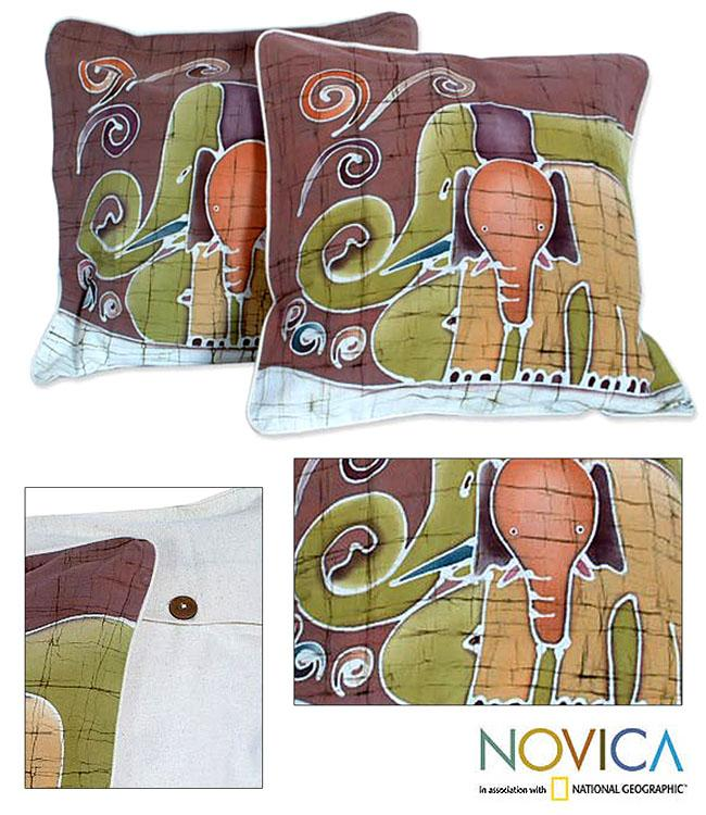Set of Two Cotton Batik 'Elephant Family' Cushion Covers (Thailand)