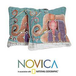 Set of Two Cotton Batik 'Mom and Baby' Cushion Covers (Thailand)