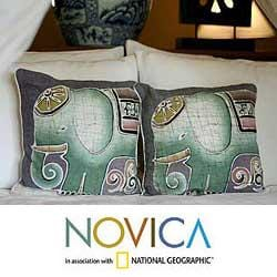 Set of Two Cotton Batik 'Dreamy Elephants' Cushion Covers (Thailand)