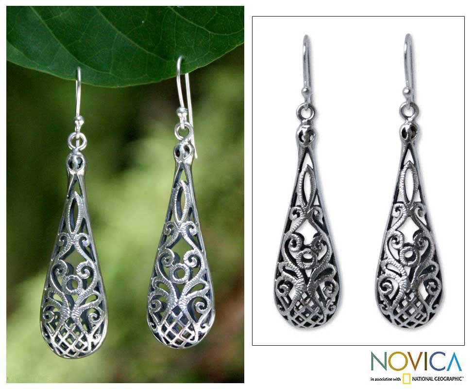 Sterling Silver 'Tropical Pineapple' Earrings (Thailand)