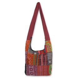 Cotton 'Hmong Customs' Medium Shoulder Bag (Thailand)