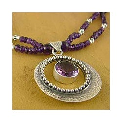 Sterling Silver 'Beautiful Essence' Amethyst Necklace (India)