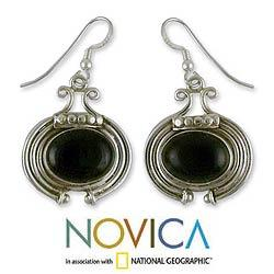 Sterling Silver 'Your Embrace' Onyx Earrings (India)