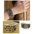 Sterling Silver 'Shimmering Confetti' Gemstone Cuff Bracelet (India)