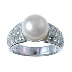 Pearls For You Silver White FW Pearl and White Topaz Ring (9.5-10 mm)