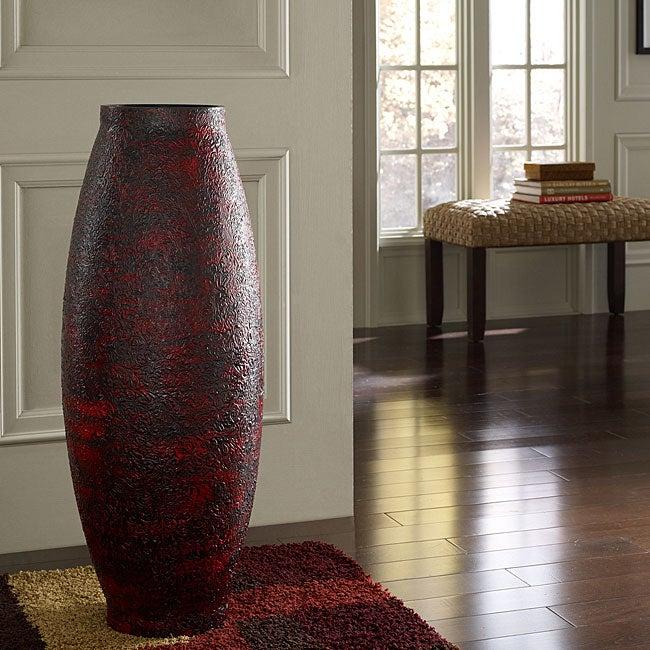 Embossed Red Floor Vase (Indonesia)