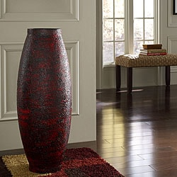 Embossed Red Floor Vase (Indonesia)