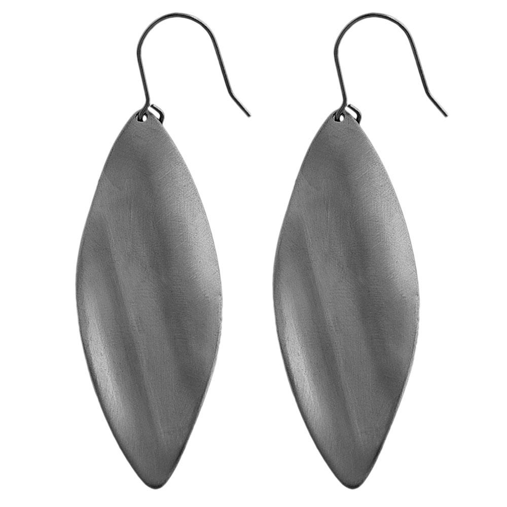 Fremada Stainless Steel Twisted Brushed Leaves Dangle Earrings