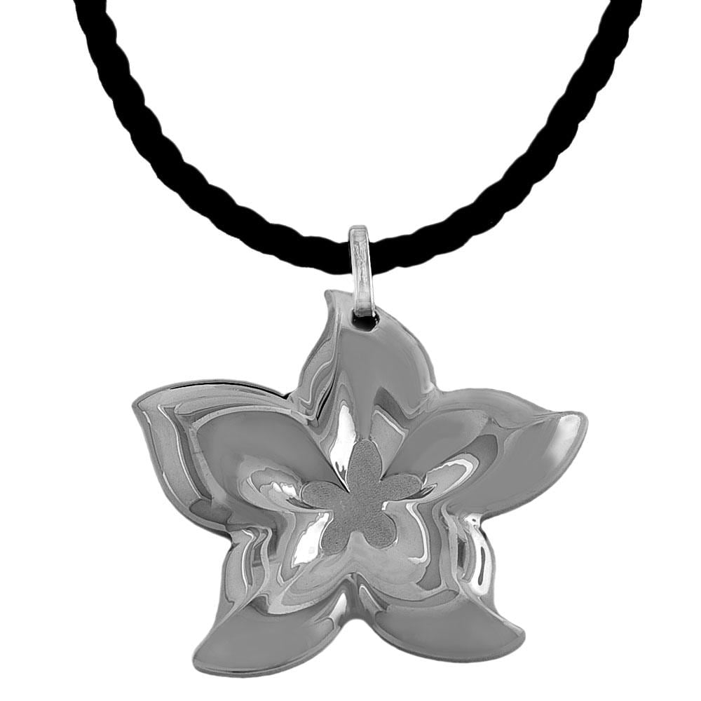 Fremada Stainless Steel Sculpted Flower Necklace