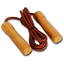 Valor Fitness Wood-handled Leather 9-foot Adjustable Jump Rope