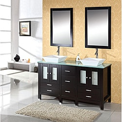 Virtu USA Bradford 60-inch Double Sink Bathroom Vanity Set