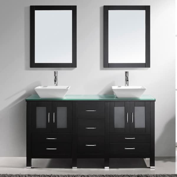 virtu usa bradford 60 inch double sink bathroom vanity set overstock