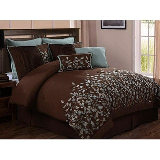 Embroidered Leaves 8-piece Chocolate Brown Comforter Set