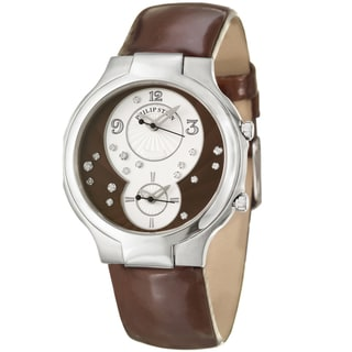 Philip Stein Women's 'Modern' Steel and Brown Leather Quartz Diamond Watch