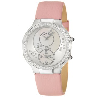 Philip Stein Women's 'Modern' Steel and Pink Leather Quartz Diamond Watch