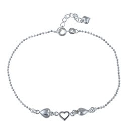 Sterling Essentials Sterling Silver 9-inch plus 1-inch Extension Hearts Anklet