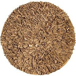 Handmade Jersey Cotton Beige Shag Rug (4'9 Round)