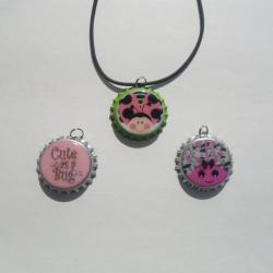 Cute as a Bug Bottle Cap Necklace Set