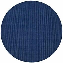 Hand-tufted Blue Stripe Wool Rug (6' Round)