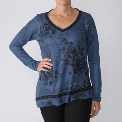 California Bloom Women's Long Sleeve Graphic V-Neck with Lace Trim Top