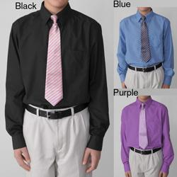 Coordinated Gioberti by Boston Traveler Boy's Dress Shirt and Tie Set