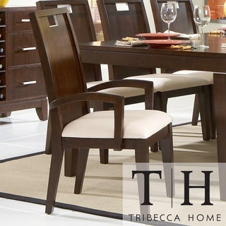 Tribecca Home Silves Warm Cherry Transitional Dining Arm Chair (Set of 2)