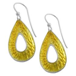 Fremada 14k Gold over Silver Hammered Teardrop Dangle Earrings
