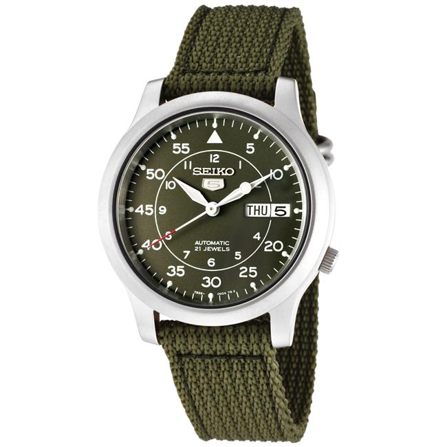 Seiko Men's Seiko 5 Green Dial Green Fabric Automatic Watch