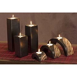 Black Mango Wood Candle Holders (Set of 6)