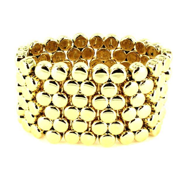 Goldtone Multi-disk Stretch Cuff Bracelet