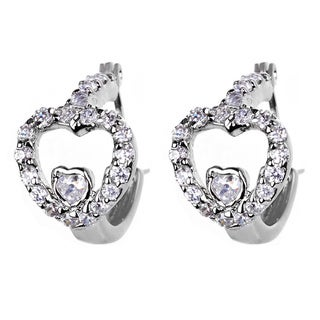 Silvertone Cubic Zirconia Heart Hoop Earrings