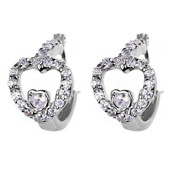 Silvertone Cubic Zirconia Heart Hoop Earrings