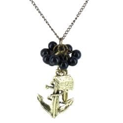 West Coast Jewelry Gold-tone Metal/Plastic Women's Anchor Charm Pendant Necklace